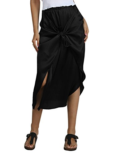 Bbalizko Womens Skirts Bow Wrap Elastic Waist Splite Ruffle Flowy Party Midi Skirts