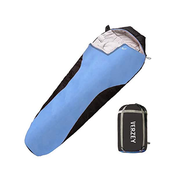 VERZEY Mummy Envelope Camping Sleeping Bag, Great for 3 Season, Hiking Outdoor Activities Waterproof Lightweight Sleeping Bags for Adults, Youth,Teens ,Kids & Boys 4
