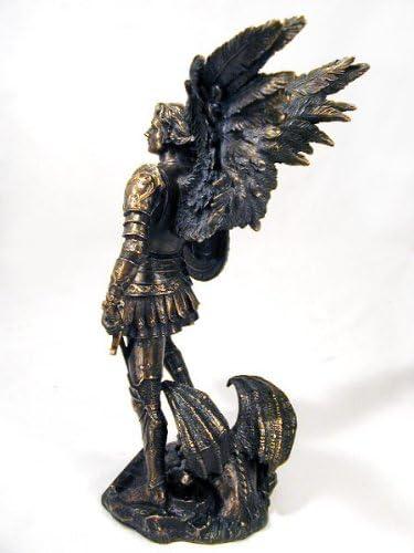 Archangel Saint Michael Statue Real Bronze Powder Cast Sculpture 12 \xbd-inch