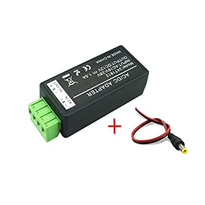 BeElion 24V AC to 12V DC Convertor, 1.5 Amp Supply Current Power Adapter and 2.1 x 5.5mm DC Power Male Plug Pigtail for Surveillance Security Camera CCTV : Camera & Photo