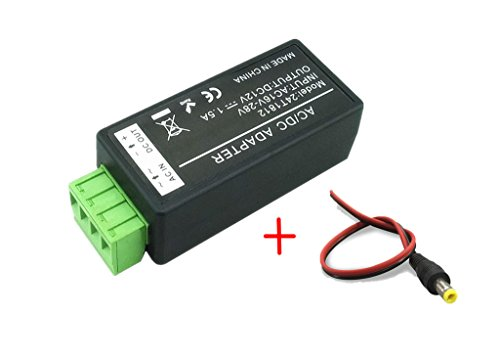 BeElion 24V AC to 12V DC Convertor, 1.5 Amp Supply Current Power Adapter and 2.1 x 5.5mm DC Power Male Plug Pigtail for Surveillance Security Camera CCTV