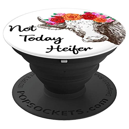 cute cow farmer not today heifer - PopSockets Grip and Stand for Phones and Tablets