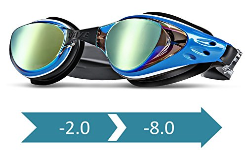 WAVE Prescription Swim Goggles Mirror Coated, Optical Corrective Swimming Goggles Scratch Resistant, Anti-fog, UV Protection Nearsighted, Allergy-free, Free Ear Plugs & Nose Piece (Blue, - Goggles Mirrored Prescription Swim