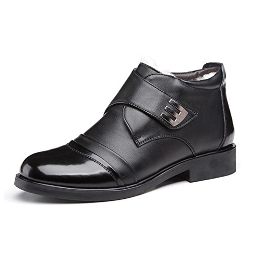 ZLY Men's Dress Formal Casual Shoes Genuine Leather No Lace Ankle Boots Black 12in - Leather Ankle Boot Lace