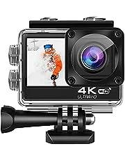 Lipa AT-Q60CR 4K Ultra HD action camera IPS Wifi, Dual Screen Touch, Action Cam met Mounts, Met Remote, Sony IMX Sensor, 4K 60 FPS, 24 MP, 21 Mounts, Elektronische Beeldstabilisatie, Waterproof Case
