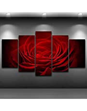 5 Panels Painting Wall Art Hd Home Decoration Modern Living Room Printed Canvas Red Rose Flowers Pictures Poster