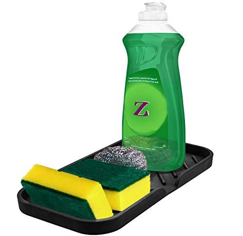 Sponge Holder for Kitchen Sink Organizer Tray [Newest Version with Drain Lip] Luxet Self Draining Sink Caddy For Dish Soap Dispenser Scrubber Brushes Bottle Dryer Kitchen Accessories Gadgets, Black