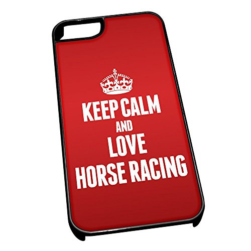 Nero cover per iPhone 5/5S 1774 Red Keep Calm and Love Horse Racing