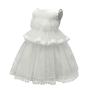 XFentech Baby Dress - Kids Girls Sleeveless Flower Party Clothes Party Princess Baptism Dress,Beige,24M(19-24 Months)