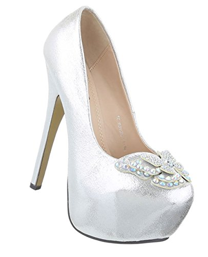 Metallic Stiletto Pfennigabsatz Plateau Pumps Silber High Heels Velours Pumps Schuhcity24 Partyschuhe Damen Hochhackige Pumps Strass Schuhe 4FqSSx