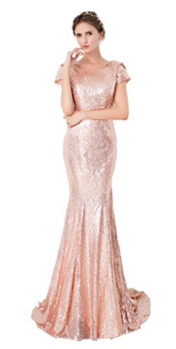 YinWen Women's Prom Bridesmaid Dress Long Sheath V-Back Sleeveless Evening Gown Size 10 US Golden