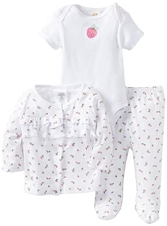 ABSORBA Baby-Girls Newborn Cherry Bodysuit And Footed Pan Set With Knit Top, Red/White, 0-3 Months