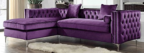 (Iconic Home Da Vinci Velvet Modern Contemporary Button Tufted with Silver Nailhead Trim Silvertone Metal Y-Leg Left Facing Sectional Sofa, Purple)