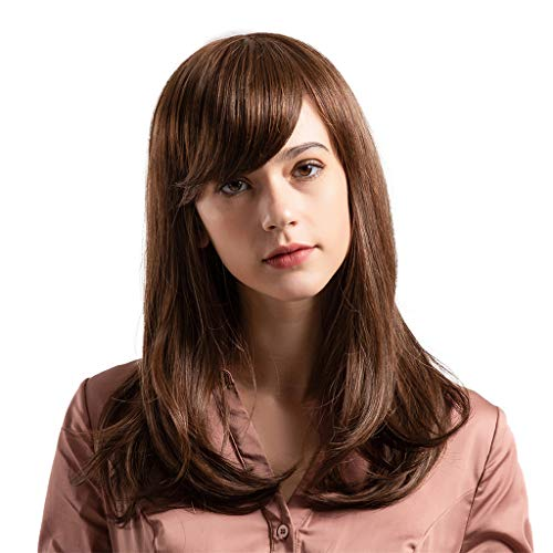 Straight Long Hair Wig, Inkach Women Full Wigs with Baby Hair Heat Resistant Synthetic Fiber Female Wig with Bangs (Brown) -