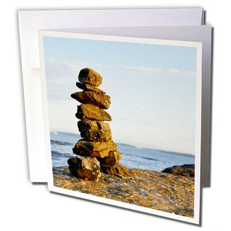 3dRose Danita Delimont - Travel - Canada, B.C., Russell Island. Rock Inukshuk at sunset - 6 Greeting Cards with envelopes (gc_277231_1)