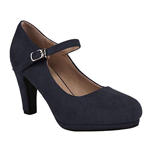 Syktkmx Womens Mary Jane Heels High Block Heel Pumps Platform Ankle Strap Closed Toe Shoes