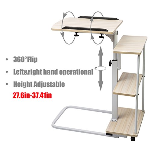 Sdadi Adjustable Overbed Table With Wheels Laptop Cart