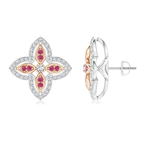 Floral Pink Sapphire Earrings - Diamond & Pink Sapphire Halo Two Tone Floral Earrings in 14K White & Rose Gold (2mm Diamond)