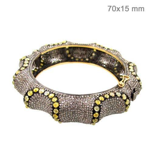 costozon victorian bracelet 34 Tcw Golden Topaz Rose Cut Diamond 925 Sterling Silver vintage jewelry
