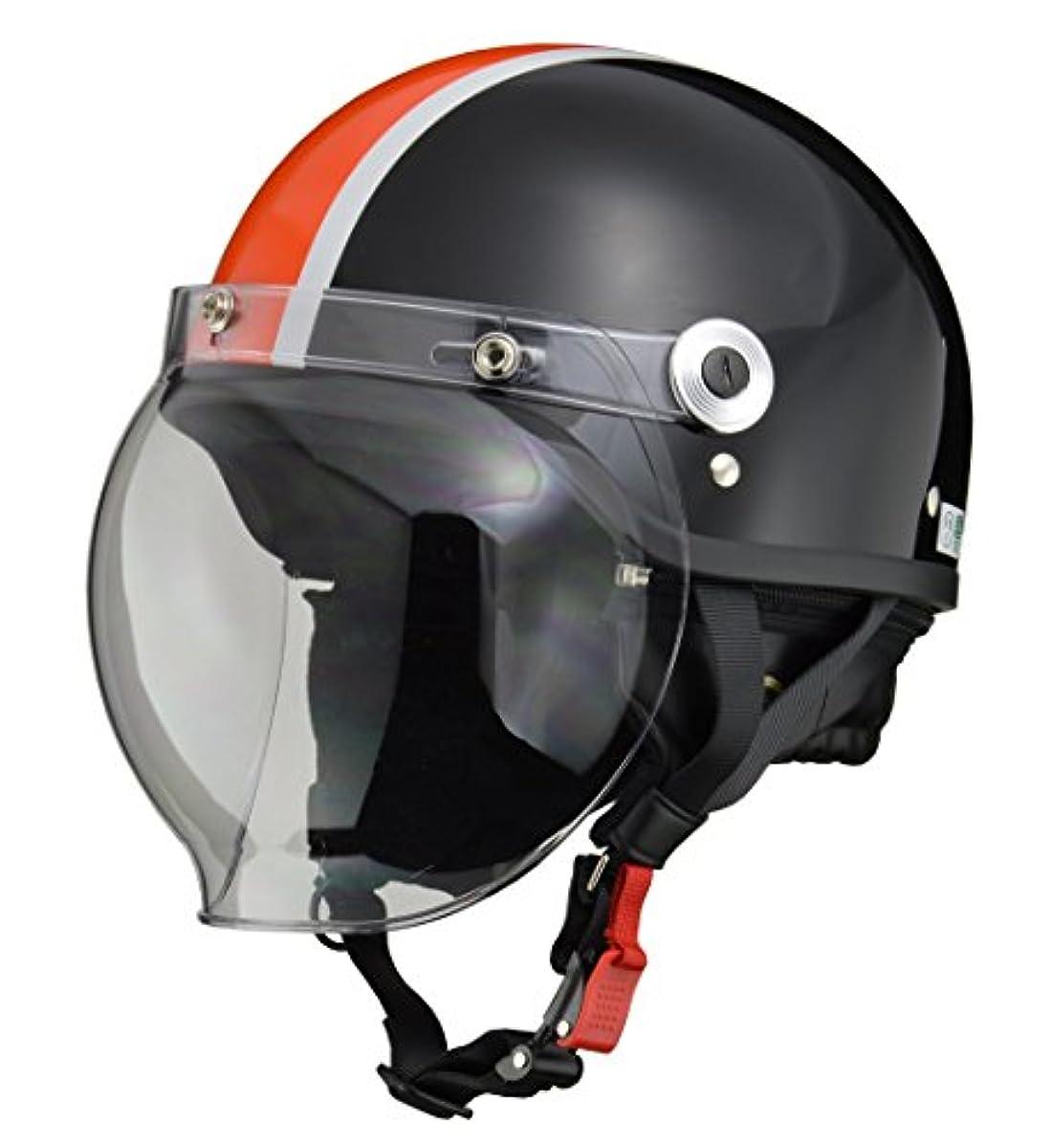 [해외] 리드 공업(LEAD) 오토바이 헬멧 제트 CROSS 버블 쉴드 부착 블랙×오렌지 CR-760 -