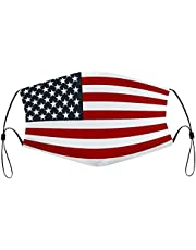 Face Mask Patriotic American Flag Red White Blue Mask Reusable Washable Balaclavas with 2 Filters for Women Men