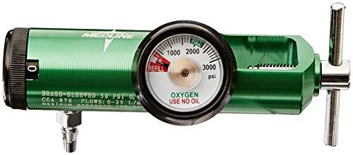 Medline HCS8725M Mini Oxygen Regulator, Latex Free, 0 - 25 Liters per Minute, 870 CGA Connection, Brass Sleeve