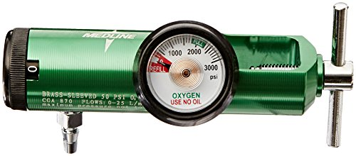 Oxygen Equipment - Medline HCS8725M Mini Oxygen Regulator, Latex Free, 0-25 Liters per Minute, 870 CGA Connection, Brass Sleeve