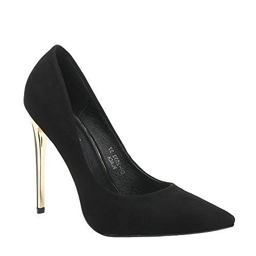 Ideal Shoes, Damen Pumps Schwarz