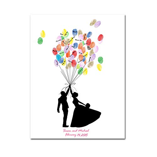 (Mesno DIY Personalize Wedding Guest Canvas Signature Sign-in Book Couple Hugging Balloons for Wedding Gift Birthday Party)