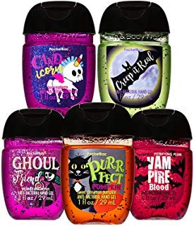 Bath and Body Works HALLOWEEN 5-Pack PocketBac Hand Sanitizers (Sweet Cinnamon Pumpkin, Wickedly Wild Berries, Petrifying Plum, Boo Raspberry and Caramel Apple) -