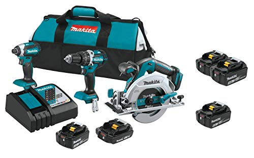 Makita XT333X1 18V LXT Lithium‑Ion Brushless Cordless 3‑Pc. Combo Kit (4.0Ah) (2.0Ah) w/ Makita BL1860B 18V 6.0 Ah Battery & Makita BL1850B-2 18V LXT Lithium-Ion 5.0Ah Battery Twin Pack ()