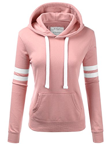 Sweatshirt Arms - NINEXIS Womens Long Sleeve Terry Hoodie Double Arm Line Pullover Sweatshirts MAUVEPINK M