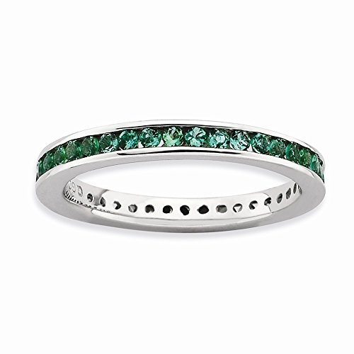 Stackable Expressions Sterling Silver Polished Simulated Emerald Ring - Size 7 by Stackable Expressions