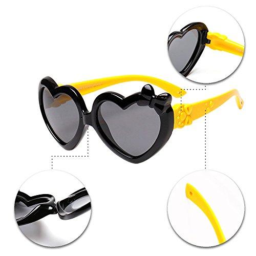 BOZEVON Unisexe Polarisées Lunettes de Soleil pour Enfants Garçons Filles Mignonne Monture en caoutchouc flexible Sport Lunettes Noir/Jaune
