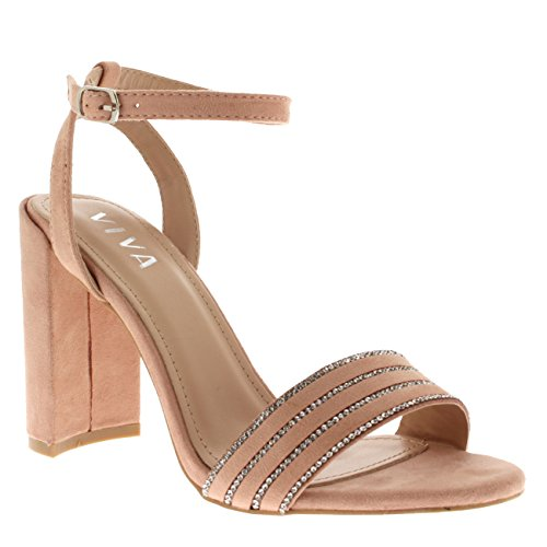 High Sandal Detallado Shoes Heel Suede Viva Ankle Party Wedding Pink Womens Diamante Strap 5xn8qwSHa6