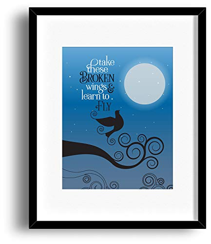 Blackbird - The Beatles - Song Lyric Art Illustrated Print (Matted and Framed Options)