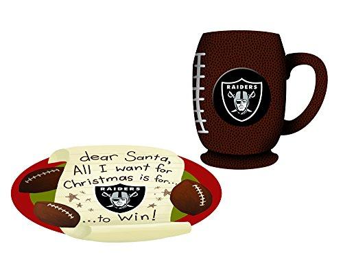 Oakland Raiders Cookies For Santa Plate and Mug Set - Oakland Athletics Santa