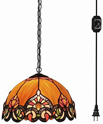 STGLIGHTING Tiffany Baroque Style Glass Lampshade Ceiling Lamp Colorful Chandelier with 15ft Plug-in UL On Off Dimmer Switch Cord for Bedroom Background Wall Dining Room Bulbs Not Included