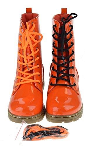 SHOEDEZIGNS Shoe Dezigns Declyn 01 Womens Patent 2 Color Lace Combat Boots Orange ()