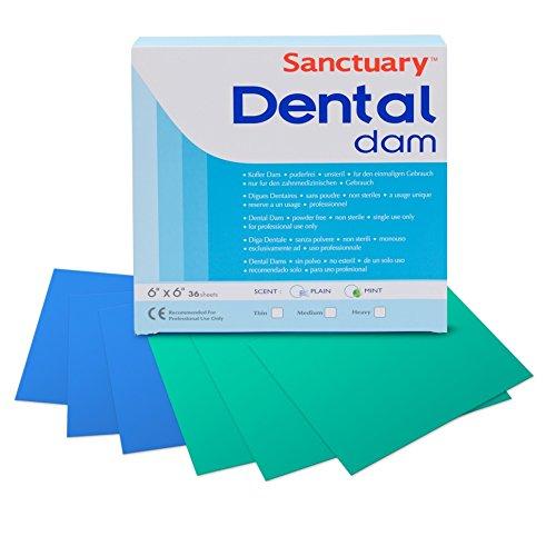 Sanctuary Latex Dental Dam,Powder Free, Pack of 36 (Blue 6