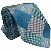 Gravata Slim Trabalhada Xadrez Importada Azul Tiffany Prata