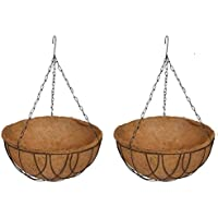 COIR GARDEN Coir Hanging Round Basket Coco Gardening Pots with Stand, 12-inch - Set of 2 Pieces