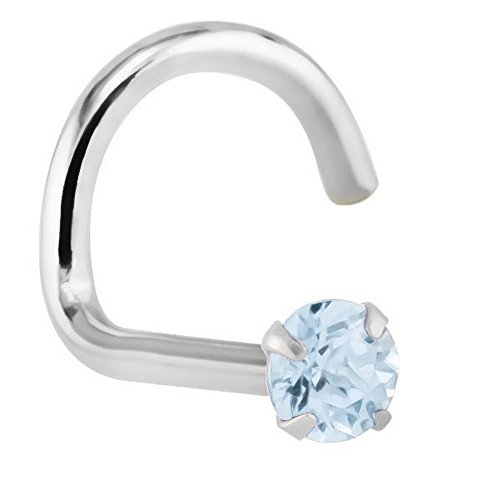 FreshTrends 1.5mm Aquamarine (March) - Solid 14KT White Gold Nose Twist/Screw ()