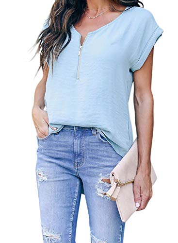 ZKESS Womens Casual Loose Half Zipper Down V Neck Short Sleeve Tops Cotton Solid Color Tunic Blouse Tshirts Blue-2 XL 16 18