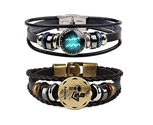 Dcfywl731 Retro 2pcs 12 Zodiac Constellation Beaded Hand Woven Leather Bracelet Braided Punk Chain Cuff (Aquarius)