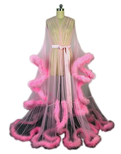 Old Hollywood Feather Robe Sexy Boudoir Robe Feather Bridal Robe Tulle Illusion Long Wedding Scarf New Custom Made Pink
