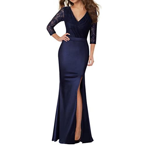 ... reputable site 35fc8 8377e HOMEYEE Womens Vintage Lace Split Side  Formal Bridesmaid Long Evening Gown Dress ... f7b7817ea
