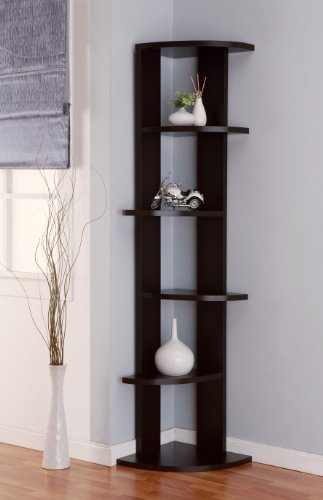 IoHOMES Metro 5-Shelf Corner Display Stand/Bookcase, Cappuccino