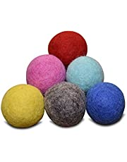 Set of 6-100% Wool Felt Ball Toys for Cats and Kittens, Comfy Pet Supplies Handmade Colorful Eco-Friendly Cat Wool Balls (4cm, Gray Mint Blue Red Pink Yellow)