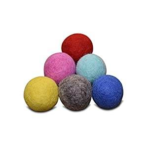 Set of 6 - 100% Wool Felt Ball Toys for Cats and Kittens, Comfy Pet Supplies Handmade Colorful Eco-Friendly Cat Wool Balls (4cm, Gray Mint Blue Red Pink Yellow) 64